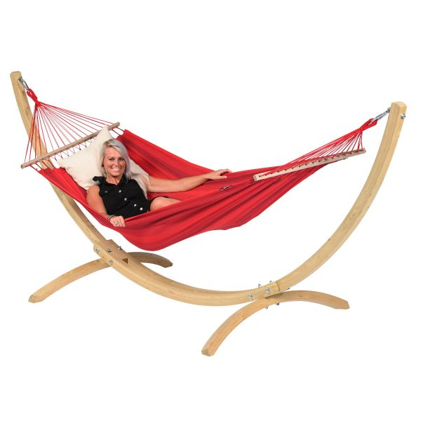 Wood & Relax Red Amaca 1 posto con supporto