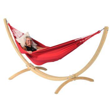 Wood & Dream Red Amaca 1 posto con supporto